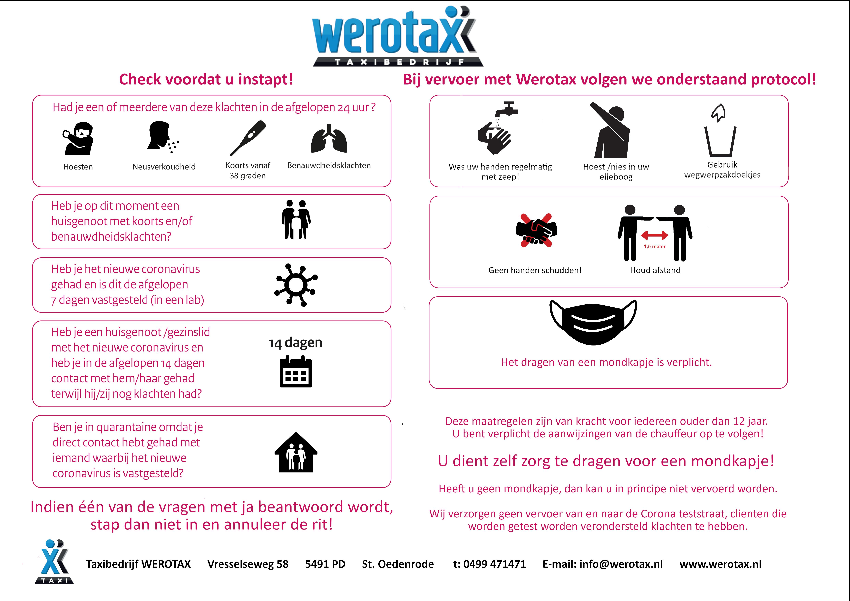 Het corona protocol van Werotax!